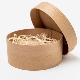 Disposizione di vista frontale della scatola di legno