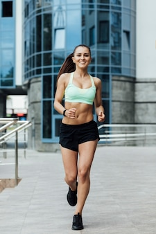 Front view of athlete running
