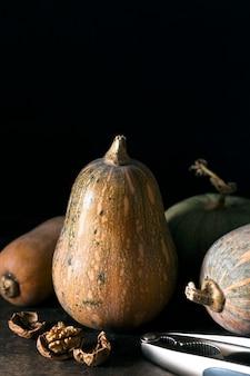 Vista frontale della zucca di autunno con le noci e lo spazio della copia