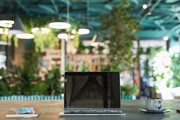 Front view background image of opened laptop with blank screen in modern eco-friendly cafe interior decorated with fresh green plants, copy space