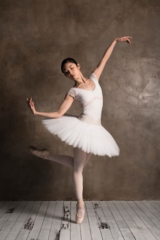 Front view of ballerina wearing a tutu