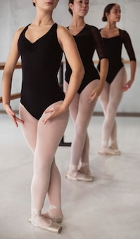 Front view of ballerinas rehearsing together while wearing leotards