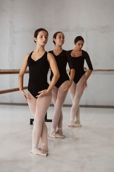 Front view of ballerinas rehearsing while wearing leotards