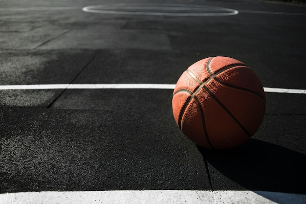 Front view basketball on court