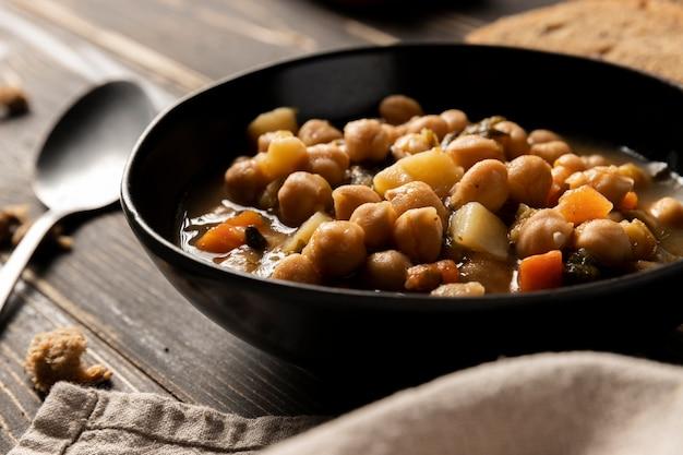 그릇에 전면보기 콩 무료 사진