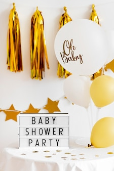 Front view of beautiful baby shower concept