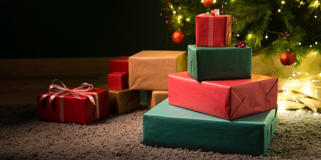 Front view of beautiful christmas gifts