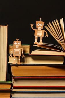 Вид спереди красивая композиция из разных книг