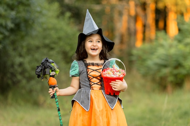 Front view of beautiful girl halloween concept