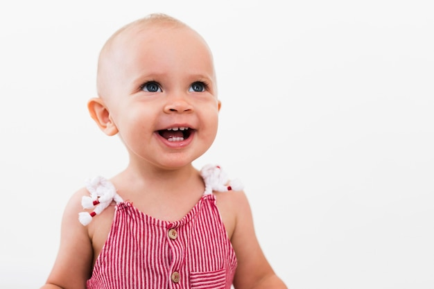 Front view of beautiful smiling baby girl