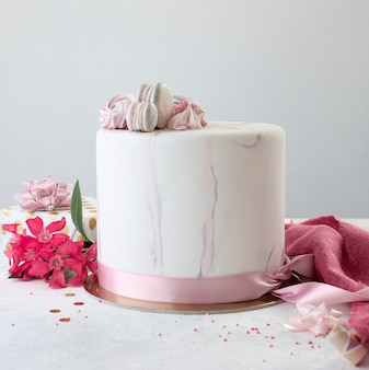 Front view of birthady cake with copy space