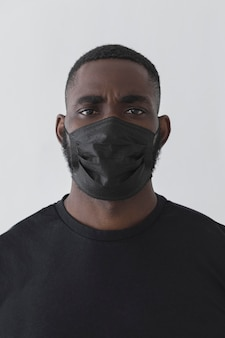 Front view black person wearing mask