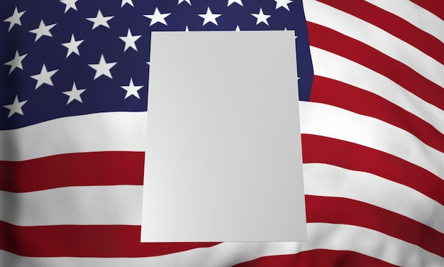 Front view of blank placard with american flag for us elections