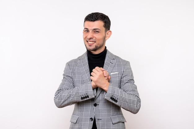 Front view blissful handsome male in suit standing on white background