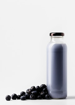 Front view of blueberry juice bottle