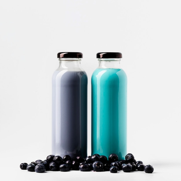 Front view of blueberry juice bottles