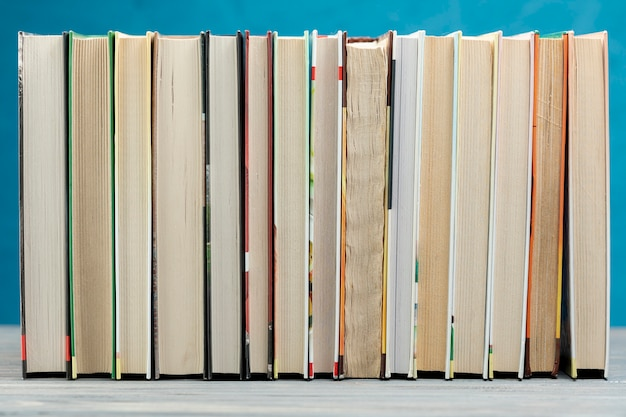 Front view books with blue background