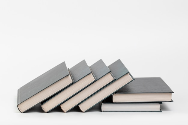 Front view books with white background
