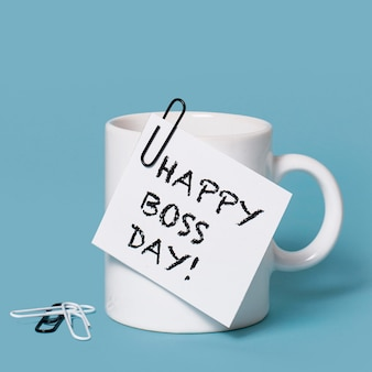 Front view boss's day arrangement with cup