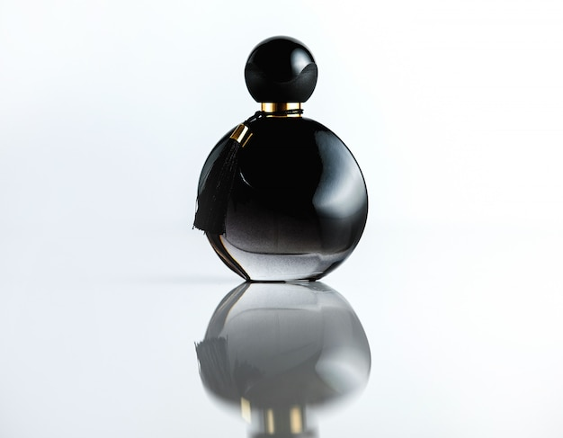 Front view bottle perfume black glass bottle
