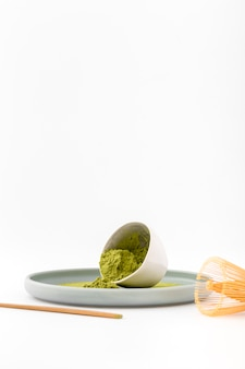Front view bowl with aromatic matcha powder