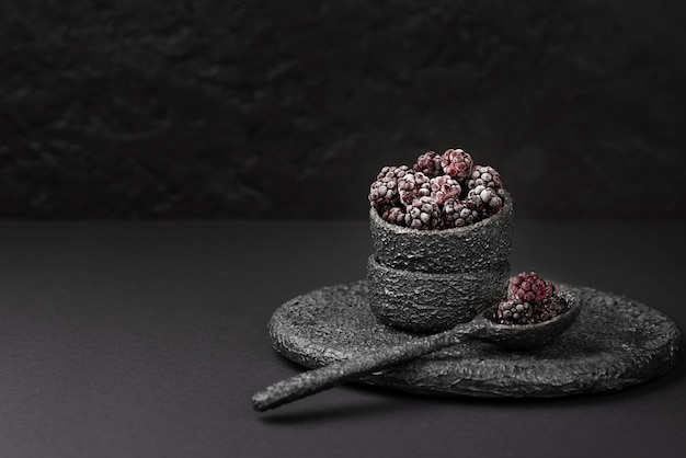 Front view of bowl with frozen blackberries and copy space