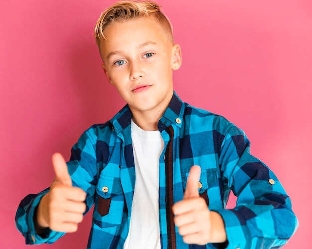 Front view boy with ok sign pose
