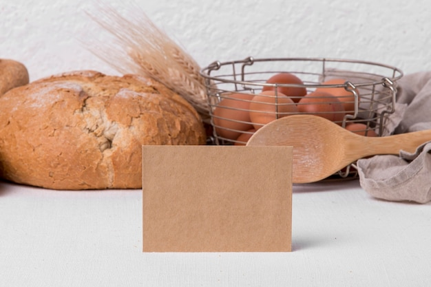 Front view bread with eggs and blank label