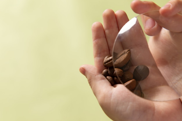 A front view brown coffee seeds in boys hands
