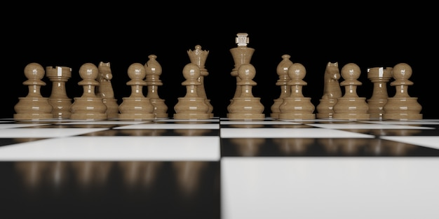 Front view of brown wooden chess pieces on chessboard and black background. 3d render