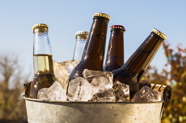 Front view bucket with cold ice cubes and bottles of beer