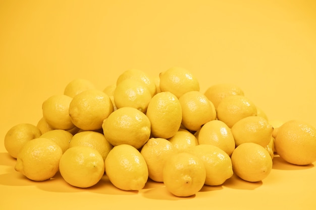 Front view bunch of fresh lemons