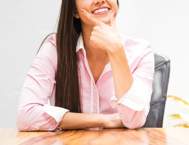 Front view business woman in pink shirt
