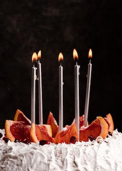 Front view of cake with candles