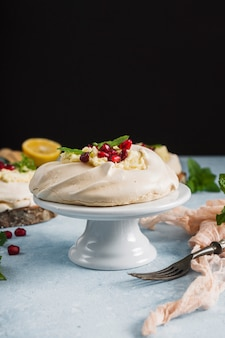 Front view of cake with pomegranate