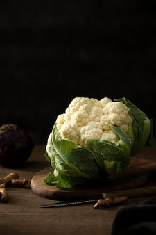 Front view cauliflower with leaves