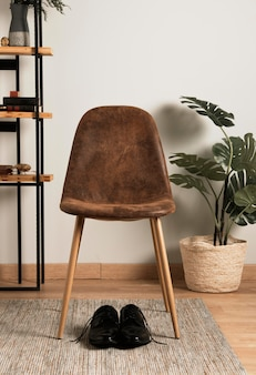 Front view chair with interior plant