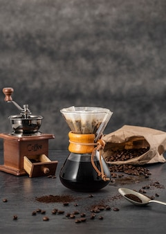 Front view of chemex with coffee and copy space