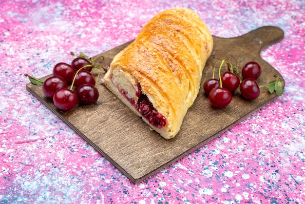 Front view of cherry pastry delicious and sweet sliced with fresh sour cherries