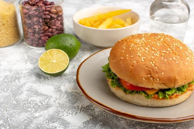 Vista frontale del panino al pollo con insalata verde e verdure all'interno con patatine fritte sulla scrivania leggera