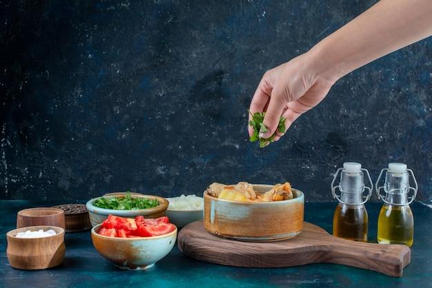 紺色のデスクスープ肉料理ディナーに塩コショウ調味料野菜と一緒にジャガイモと正面図チキンスープ
