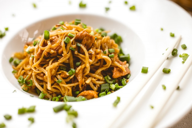 Front view chinese noodles in sauce with green onions
