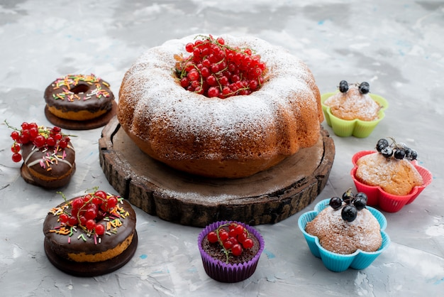 A front view chocolate cakes with donuts designed with fruits and big round cake on the white background cake biscuit donut chocolate