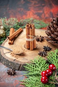 Front view cinnamon sticks cinnamon powders pinecone anises on wood board on dark