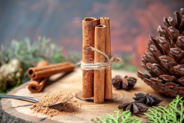 Front view cinnamon sticks cinnamon powders pinecone anises on wood board on dark Free Photo