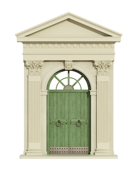 Front view of a classic arch with corinthian column, triangular tympanum and front door isolated on white. 3d rendering