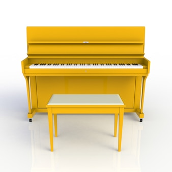 Front view of classic musical instrument yellow piano isolated on white background