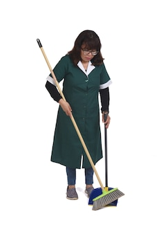Front view cleaning woman who is sweeping with a dustpan over white