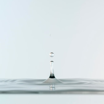 Front view of clear liquid and drops