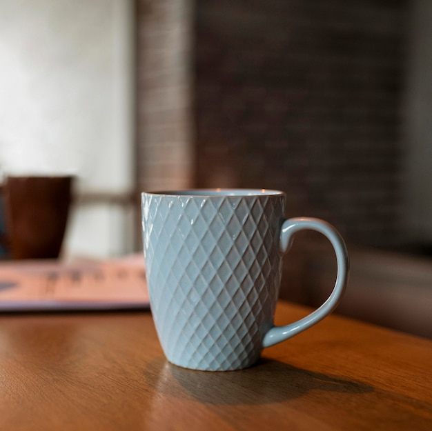 Front view of coffee mug on table counter